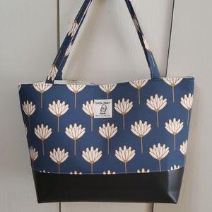 Handmade handbag Navy golden cotton tote